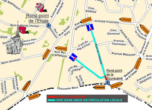 Rue de l'Infante: tronçon rue Ma Campagne/chaussée Bara fermé